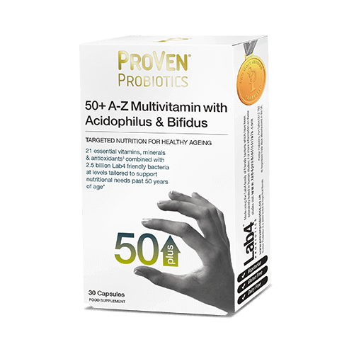 proven, 50+ complete multivitamin & mineral with friendly bacteria