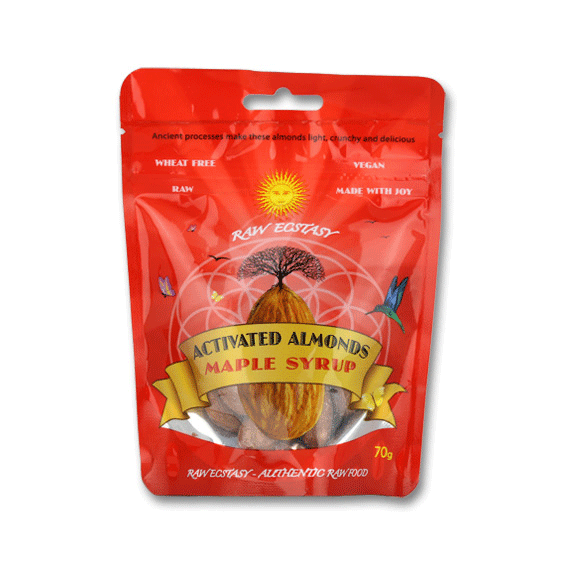 raw ecstasy, activated almonds maple syrup