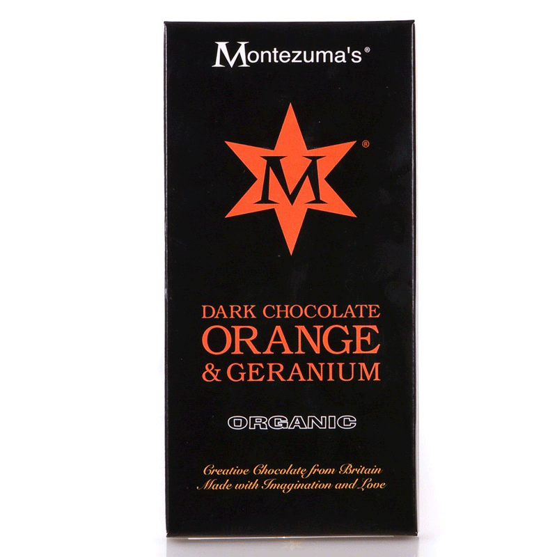 montezumas, dark chocolate orange & geranium bar
