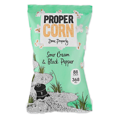 propercorn, sour cream & blck pepper popcorn